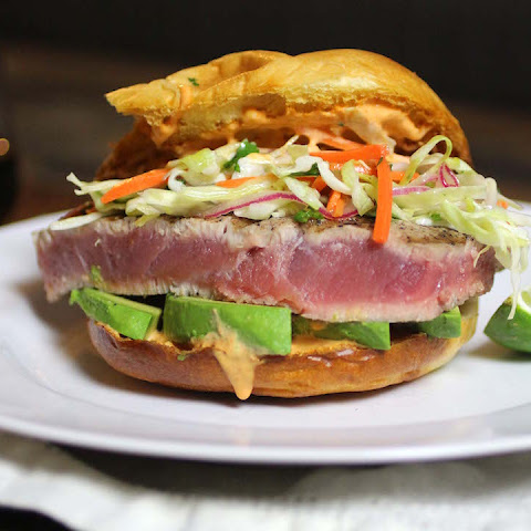 Ahi Tuna Burger with Sriracha Mayo & Asian Coleslaw