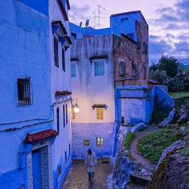 Evening in Chefchaoen by Martin Vanek - City,  Street & Park  Street Scenes ( blue, street, chefchaouen, lap, evening )