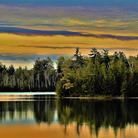 Golden Layers by Kathy Woods Booth - Landscapes Sunsets & Sunrises ( reflections, weather, lake, sunrise, golden )
