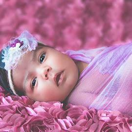 Sweet baby Ellie by Jenny Hammer - Babies & Children Babies ( purple headband, girl, beauty, baby, cute )