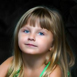 Playing TinkerBell by Luanne Bullard Everden - Babies & Children Child Portraits ( girls, green, grandchildren, blue eyes, children )