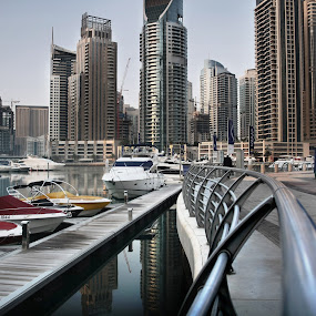 Early Morning Walk  by Scott Lorenzo - City,  Street & Park  Street Scenes ( cityscapes, urban, dubai, streets, marina, city )