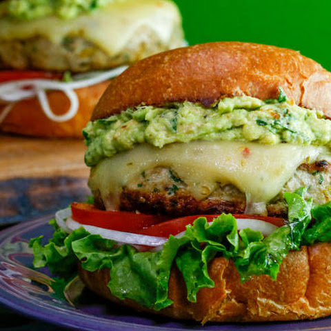 Turkey and Green Chili Burgers with Guacamole