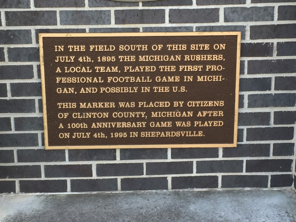 In the field south of this site on July 4th, 1895 the Michigan Rushers, a local team, played the first professional football game in Michigan, and possibly in the U.S.   This marker was placed by ...
