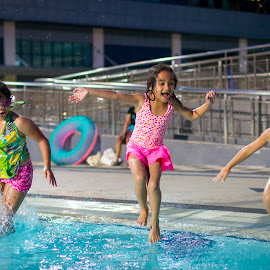Jump by Wing Yin Cheong - Babies & Children Children Candids ( girls, laughing, pool, children, boy, together, swimming, and, jump )