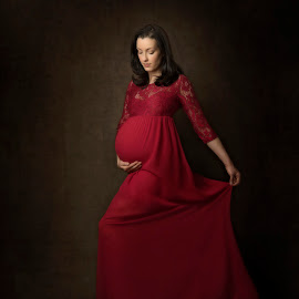 Maternity in Red Dress by Jude Stewart - People Maternity ( red, studio, dress, judithstewart, maternity, bump,  )