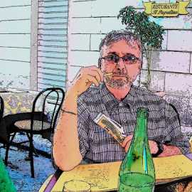 Ron at one of our favorite restaurants on the borgo pio by Mark Zukaitis - Digital Art People