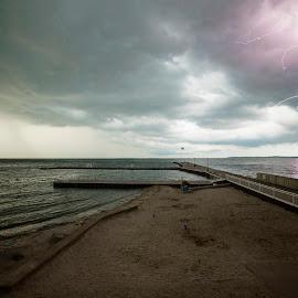 Erie Strike by Josh Metheny - Landscapes Weather ( lightning, weather, lake, storm, rain )