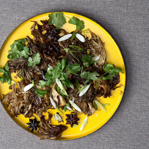 Sautéed Maitake Mushrooms with Red Chiles and Cilantro