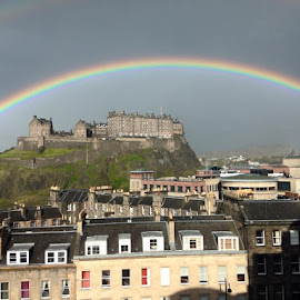 Somewhere over a rainbow by Mike Froude - City,  Street & Park  Historic Districts ( historic edinburgh, edinburgh, rainbows, castles, edinburgh castle, mikefroude )