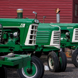 3 green farm tractors against red barn. by Gale Perry - Transportation Other ( farm, red barn, tractors, green, three,  )