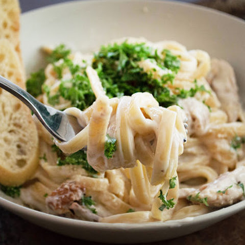 Chicken fettuccine with creamy cauliflower Alfredo sauce