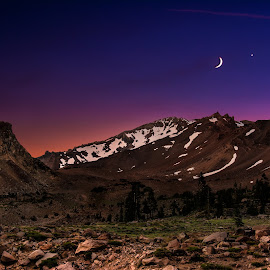 Crescent Peak by Forrest Setnor - Landscapes Mountains & Hills ( moon, mountain, nature, sunsets, sunset, landscape photography, landscapes,  )