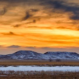 Almost Spring by Kendra Perry Koski - Landscapes Mountains & Hills ( 2018, tripp county, orange, dakotawindsphoto.com, south dakota, us, march, winter, sunset, hamill, snow, brown, dakota winds photography )