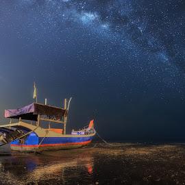 by Ah Wei (Lung Wei) - Landscapes Starscapes ( samyang 12mm f/2.8 ed as ncs fisheye, samyang, george town penang, fisheye, pulau pinang, george town, boats, gertak sanggul, malaysia, penang island, beach, landscape, samyang 12mm f2.8, milky way )