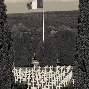 Verdun Memorial by Sinclair Parkinson - Landscapes Forests ( world war, canon, b&w, ww1, verdun, black and white, cemetery, 1916, french, architecture, landscape, canon 7d, war, religion, flagpole, fat spanner photography, pole, headstone, france, first world war, black, memorial, sinclair parkinson, death, national, black & white, pwcbwlandscapes, memory, soldier, resting, pwc, soldiers, flag, 7d, conflict, rest )