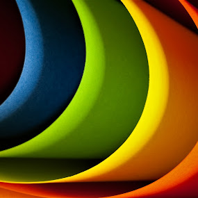 Rainbow by Russell Mander - Abstract Patterns ( paper, 5colours, pattern, shadows, colourful )