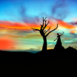 Dancing with the colors by Manuj Mehta - Landscapes Sunsets & Sunrises ( model, manuj mehta, creative, colors, rajasthan, silhouette, art, beauty, landscape, photography, tree, nature, fine arts, india, dance,  )