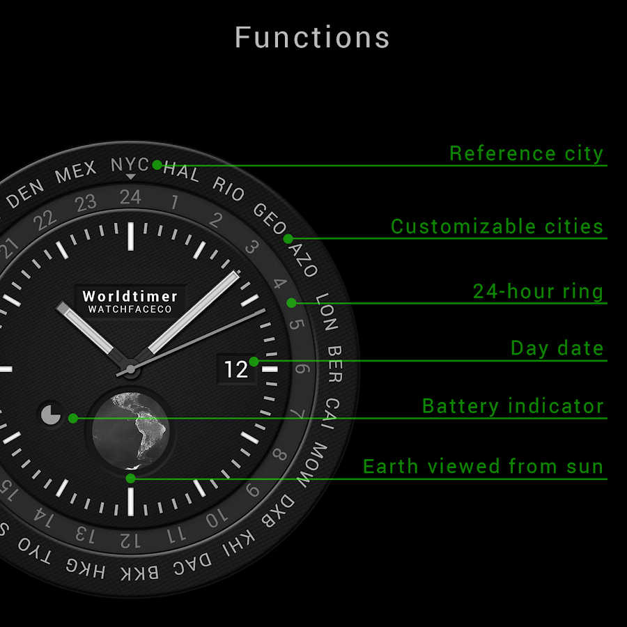 World Timer Watch Face Screenshot 2