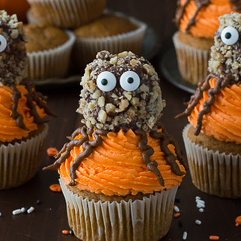 Pumpkin Walnut Spider Cupcakes