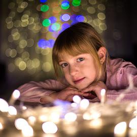 Amelia's Portrait by Alexandru Breaz - Babies & Children Child Portraits ( lights, 6 years, girl, blue, colors, beautiful, white, portrait )