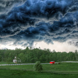 The Storm by Brian Homitz - Landscapes Prairies, Meadows & Fields ( clouds, farm, prairies, praire, cloudscape, farmland, storm )