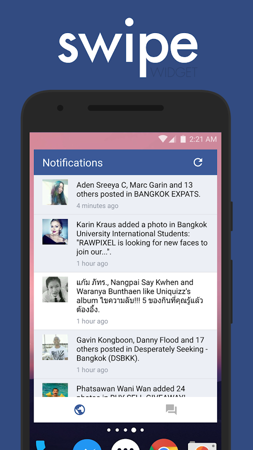 Swipe Widget for Facebook BETA Screenshot 0