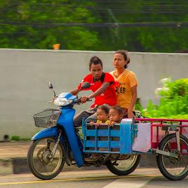 Motorcycle Sidecar by John Greene - Transportation Motorcycles ( speed, transport, family, sidecar, thailand, motorcycle, john greene, pattaya )