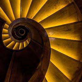 Round by Mario Horvat - Buildings & Architecture Architectural Detail ( wooden, stairs, ljubljana, round, yellow, spiral,  )