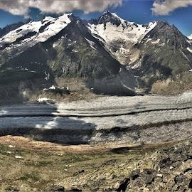 by Phil Bear - Landscapes Mountains & Hills ( aletsch glacier, mountains, alps, switzerland, glacier, europe )
