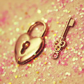 lock & key by Autumn Horton - Artistic Objects Other Objects ( upclose, silver, lock, gray, cute, bokeh, close, up, love, macro, grey, pink, gold, glitter, key )