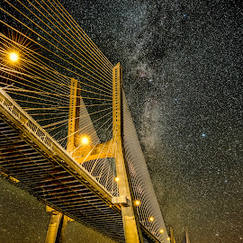 Vasco da Gama Bridge and Stars by Marcin Frąckiewicz - Buildings & Architecture Bridges & Suspended Structures ( stars, night, bridge )
