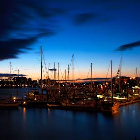 Victoria Marina Sunset      by John  Pemberton - City,  Street & Park  Night ( blue hour, sunset, ocean, victoria, marina,  )