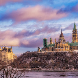 Ottawa Skyline by Tracy Munson - City,  Street & Park  Skylines ( parliament buildings, clouds, skyline, hdr, canada, chateau laurier, ottawa, gatineau, ontario, travel, cityscape, city, tracy munson, sky, sunset, canadian )