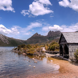 Cradle Mountain by Kim Jones - Buildings & Architecture Other Exteriors ( mountains, green plants, hut, beach, water )