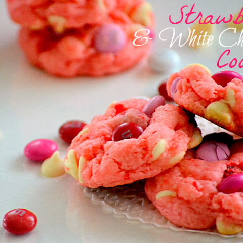 Strawberry & White Chocolate Cake Mix Cookies