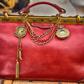 Red Bag by Marco Bertamé - Artistic Objects Other Objects ( red, chain, bag, brass, yellow, golden )
