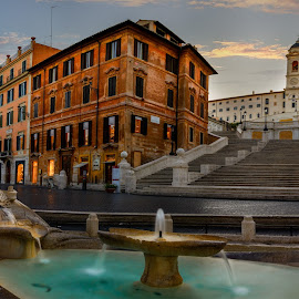 Spanish Steps by Luis Silva - City,  Street & Park  Street Scenes ( rome, sun rise, long exposure, italy, panoramic, golden hour, nd filter, spanish steps )