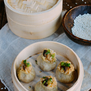 Sticky Rice Mushroom Shumai w/ Homemade Wrappers (Vegan)