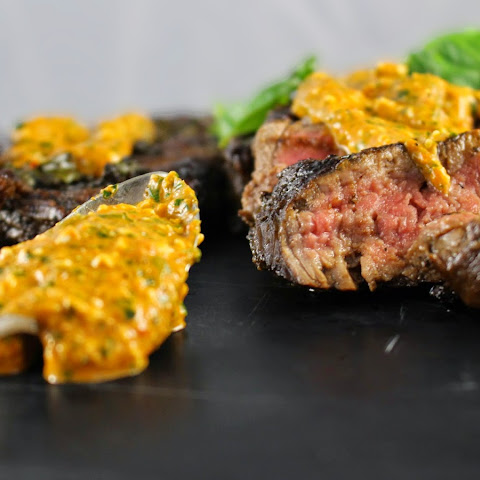 Balsamic and Basil Marinated Skirt Steak with Roasted Red Pepper Pesto