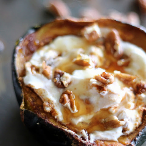 Breakfast Baked Acorn Squash with Greek Yogurt, Honey & Pecans
