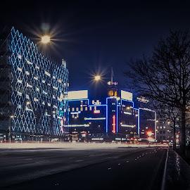 Copenhagen, H. C. Andersens Blvd by Tomas Hermansson - City,  Street & Park  Street Scenes ( copenhagen, h. c. andersens blvd, street, night, tivoli, rådhuspladsen )