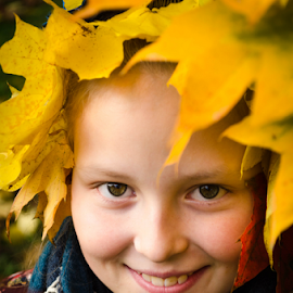 autumn by Kristina Nutautiene - Babies & Children Child Portraits ( autumn, leaf, yellow, october, maple )