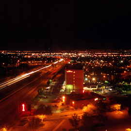 View From The 17th Floor by Becky McGuire - City,  Street & Park  Vistas ( cool, havasu, tvlgoddess, becky mcguire, i40, albuquerque, night, view, light, new mexico, city, city at night, street at night, park at night, nightlife, night life, nighttime in the city,  )
