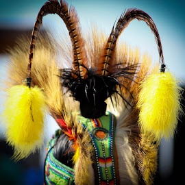 Bumblebee Roach by Holly Stokes - People Fashion ( roach, head dress, bee, bumblebee, yellow, native american )