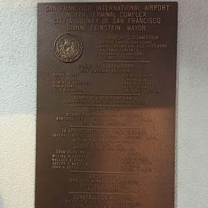 Plaque announcing the San Francisco airport. Dedicated 1979 Found by Miriam Allen, age 8.