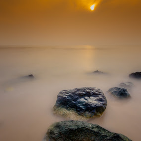 Orange beach by Asher Lwin - Landscapes Waterscapes ( water, sunset, beach, landscape, sun )