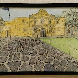 The Alamo by Carlos Gramajo - Painting All Painting ( alamo, old church, san antonio, the alamo, spanish mission )