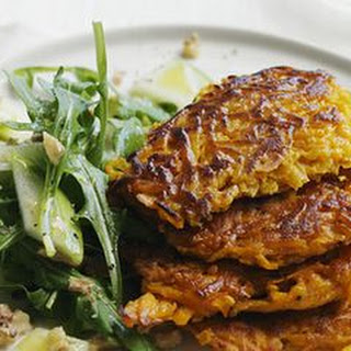 Curried Squash Pancakes with Arugula and Apple Salad