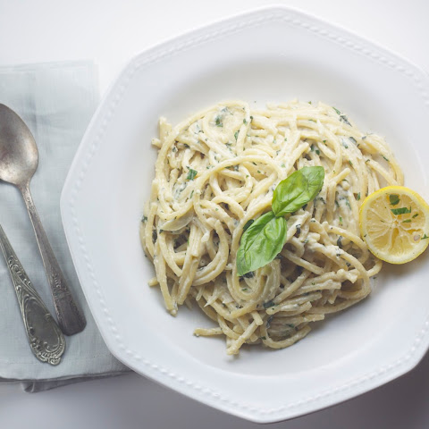 Pasta With Basil, Garlic & Lemon Vegan Cashew Cream Sauce
